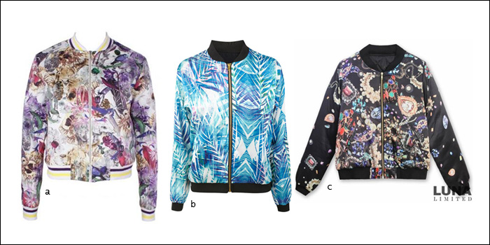 printed bomber, jacket