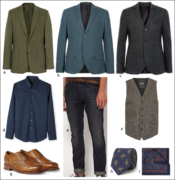 Blazer, Waistcoat, Denim, Brogues, Pocket Square, Tie, Shirt