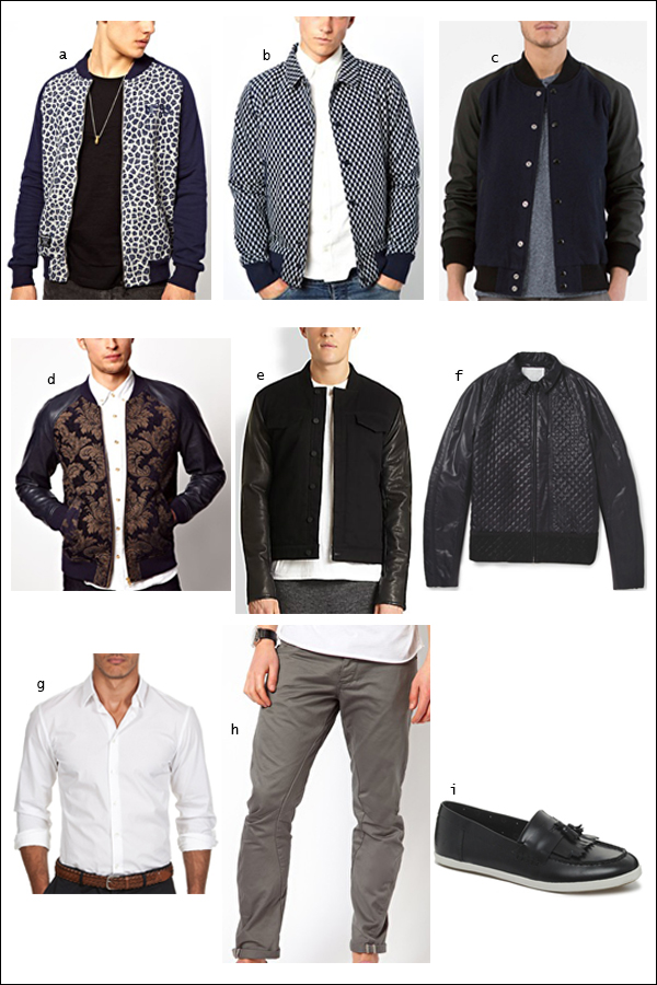Bomber Jacket, Chinos, Loafers, White Shirt