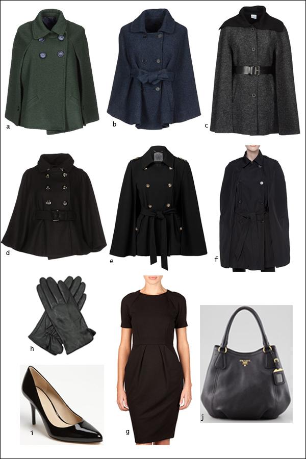 Cape, Jacket, Black, Shift dress, Pumps, Prada tote, Gloves