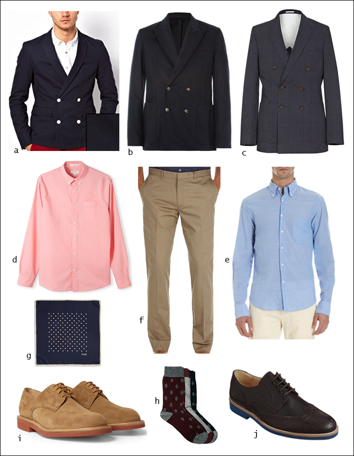 Double-breasted Blazer, Chinos, Shirts, Derby, Brogues, Pocket Square, Socks, Dapper, Modern