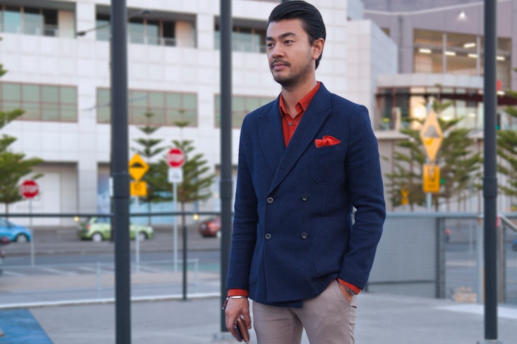 Double-breasted Blazer, Chinos, Pocket Square, Shirt, Derby, Brogues