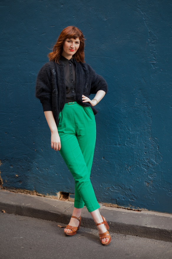 High-waisted pant, trouser, block colour, vintage, mohair cardigan