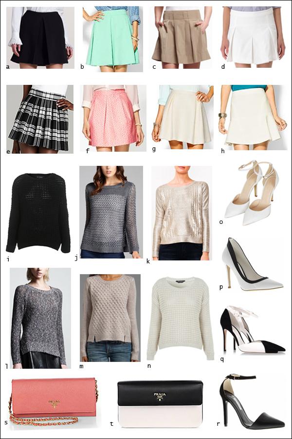 Box pleat mini, boyfriend knit, ankle strap pumps, Prada clutch, slouchy knit