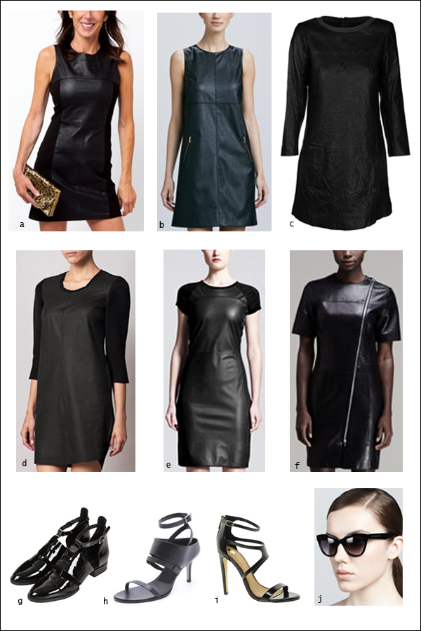 Leather shift dress, cat eye sunglasses, leather dress, black dress, little black dress, lbd, shoes, heels, sandals