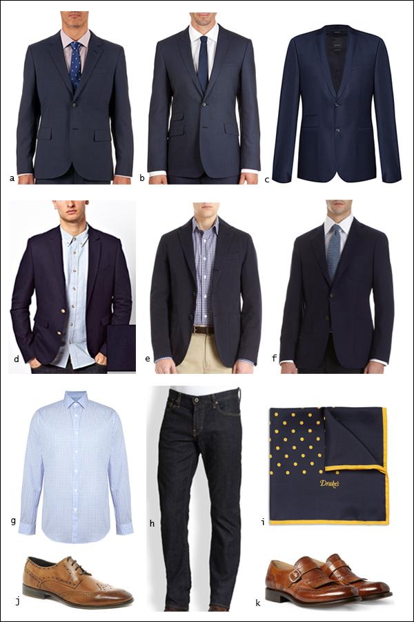 Navy suit jacket, dark denim, brogues, shirt, pocket squares, suit separates