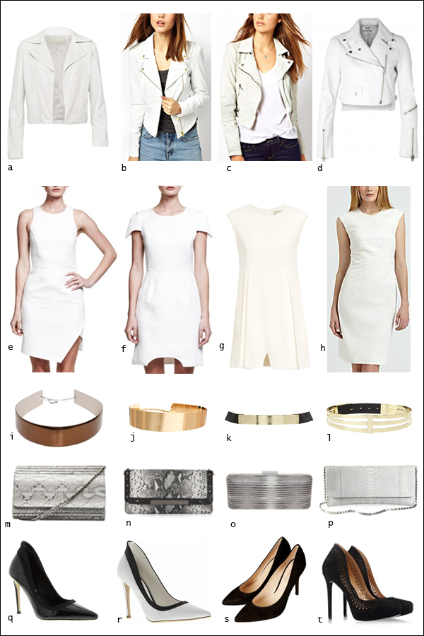 Leather jacket, shift dress, white dress, pumps, clutch, snakeskin, metallic gold belt, your ensemble, yourensemble, yourensemble.com