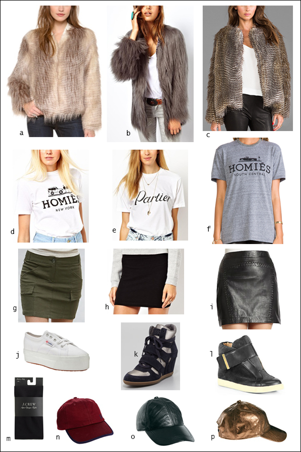 Faux fur, coat, jacket, mini, platform sneakers, novelty t-shirt, tee, your ensemble, yourensemble, yourensemble.com