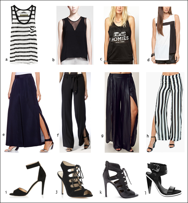 High-slit, Wide-leg pants, Trousers, Tank tops, Gladiator heels, Strappy heels, your ensemble, yourensemble, yourensemble.com