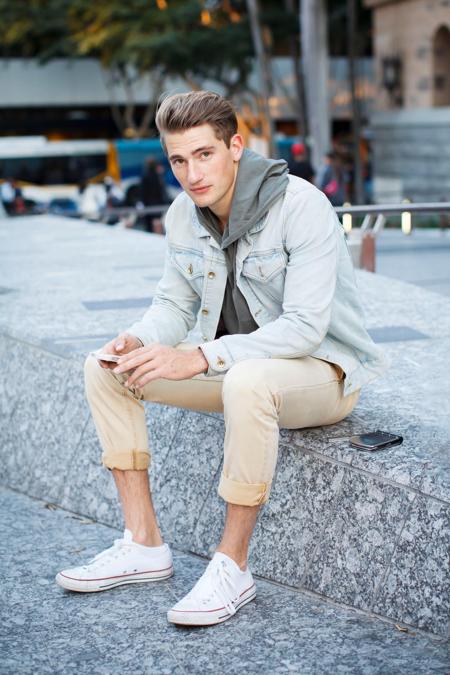 Denim Jacket, light wash denim, slim fit chinos, canvas sneakers, hooded top, your ensemble, yourensemble, yourensemble.com