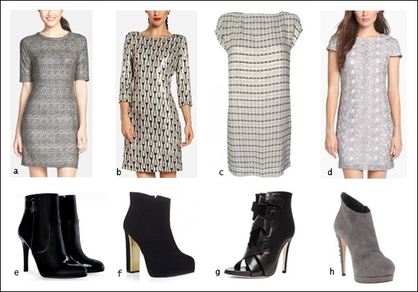 Shift dress, metallic, booties, your ensemble, yourensemble, yourensemble.com