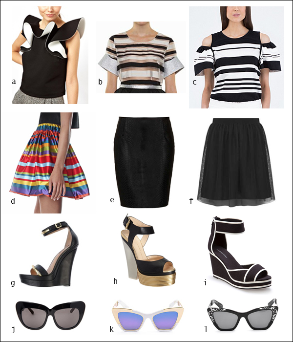 Gail Sorronda, stripes, frills, mini skirt, tops, your ensemble, yourensemble, yourensemble.com