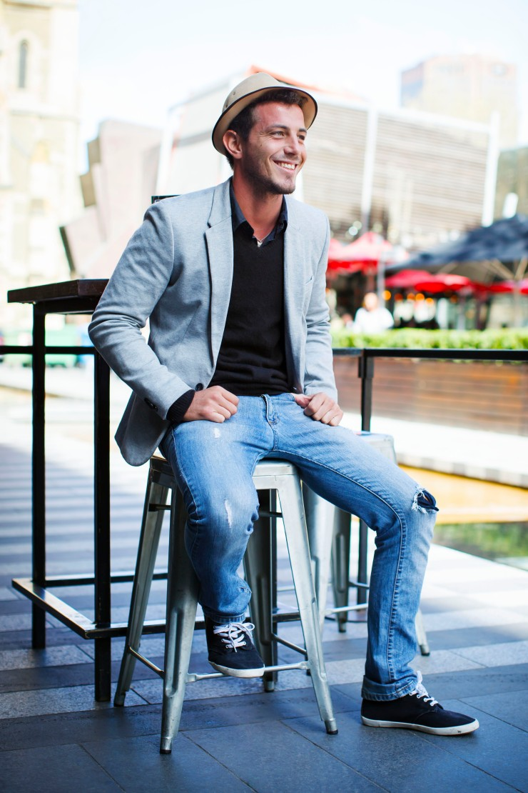 Casual, blazer, shirt, fitted denim, trilby hat, canvas sneakers, menswear, street style, your ensemble, yourensemble, yourensemble.com