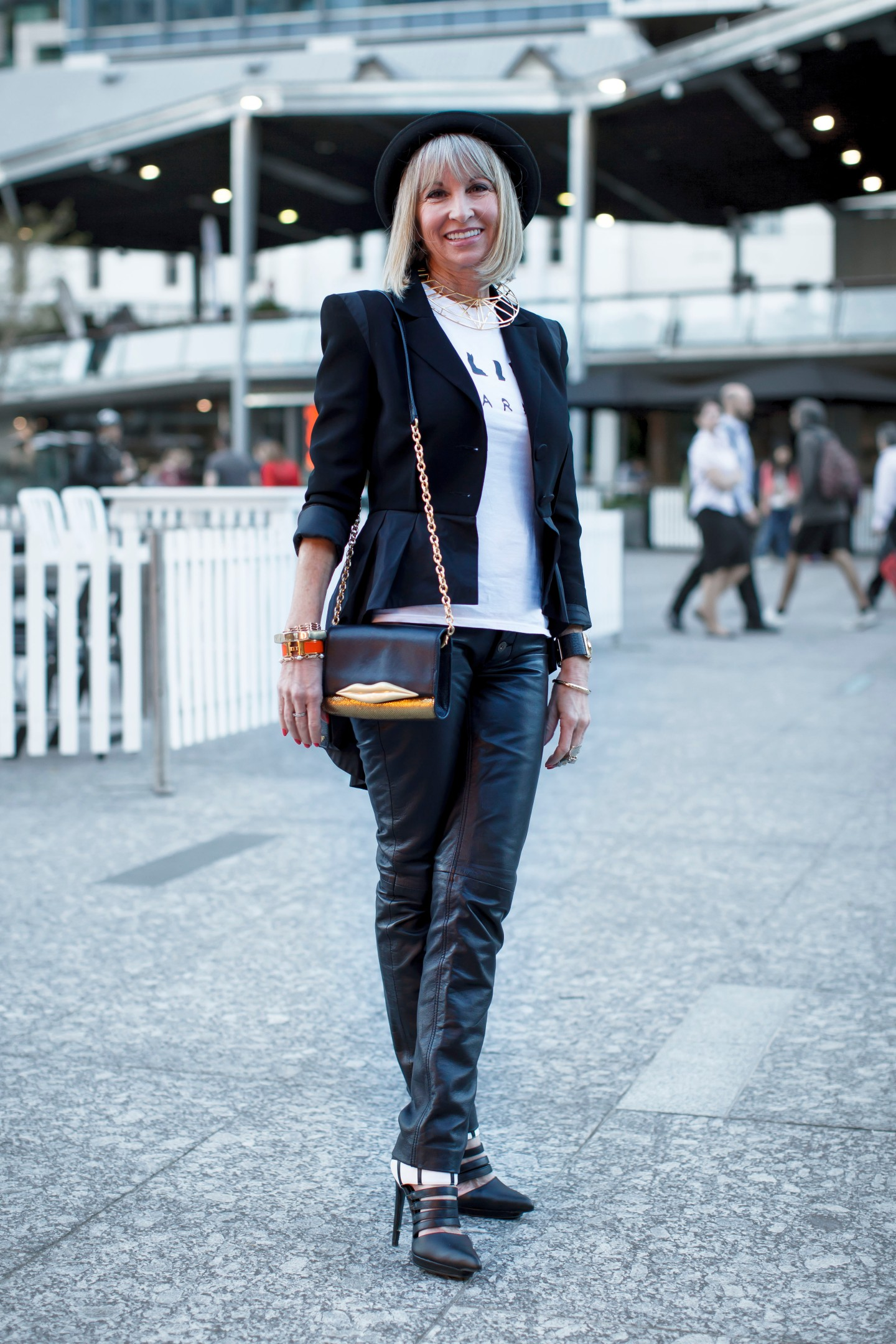 Leather pants, peplum jacket, t-shirt, pointy toe heels, bowler hat, Hermes bangle, shoulder bag, your ensemble, yourensemble, yourensemble.com
