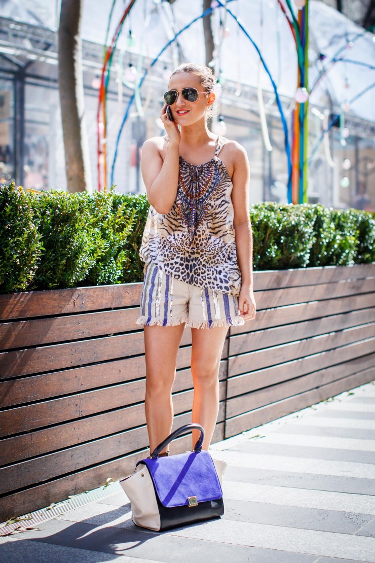 Animal print, leather shorts, shorts, swing top, sandals, womenswear, street style, your ensemble, yourensemble, yourensemble.com