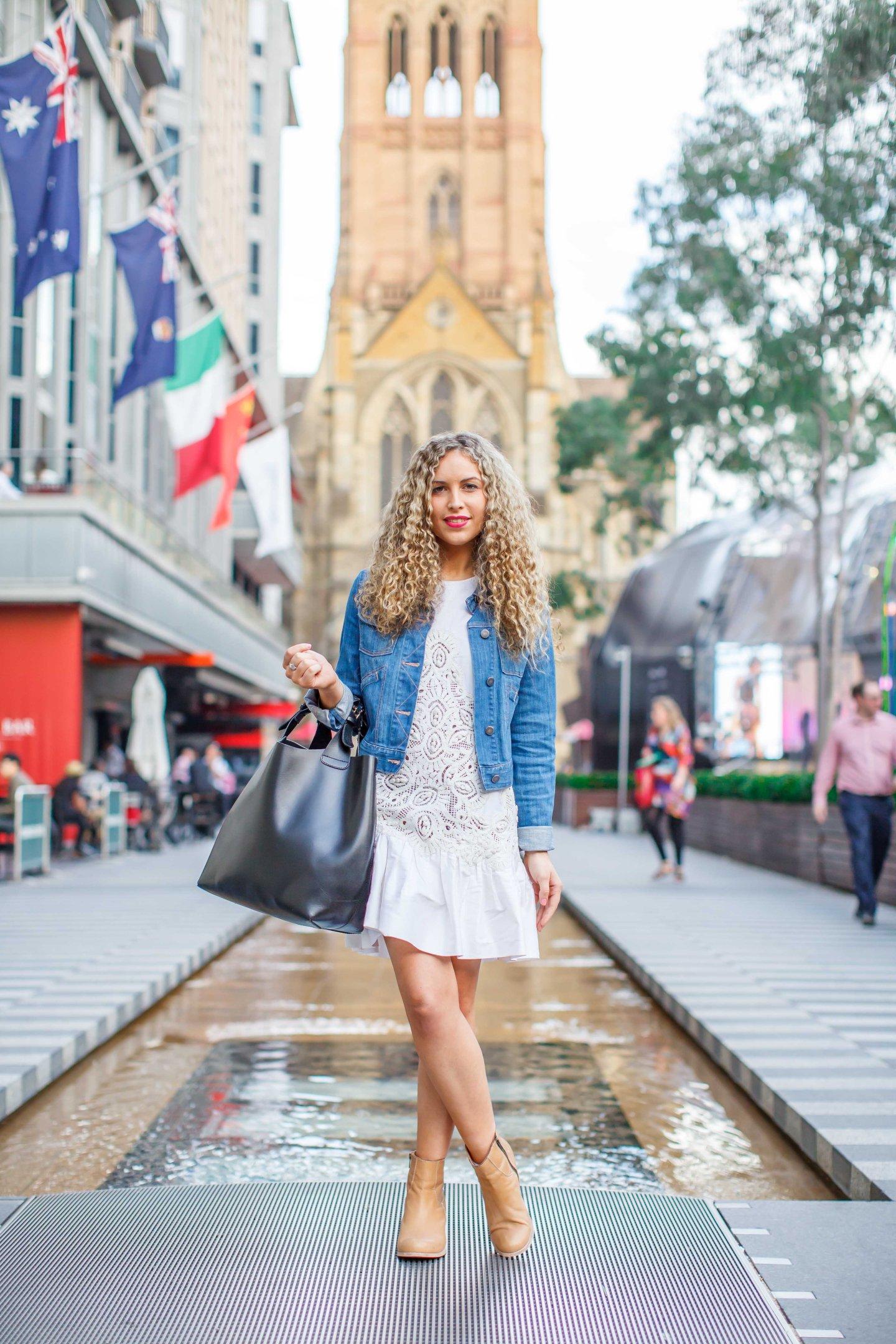 Drop waist, dress, denim, jacket, booties, ankle boots, womenswear, street style, your ensemble, yourensemble, yourensemble.com
