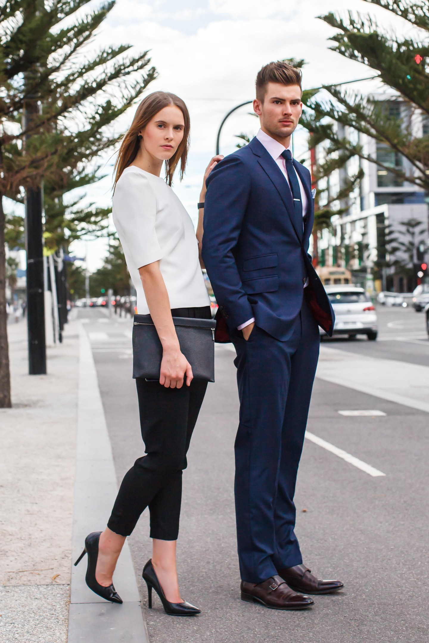 Suit, Separates, Accessories, monk straps, pumps, shoes, top, pants, shirt, clutch, womenswear, menswear, street style, your ensemble, yourensemble, yourensemble.com