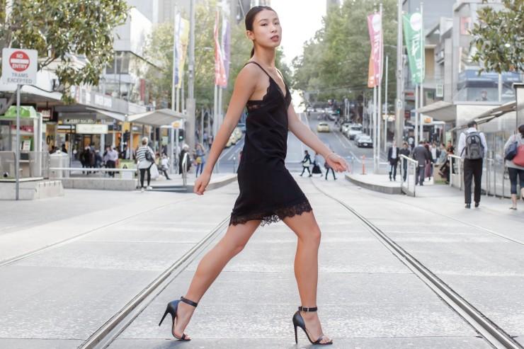 Lace, dress, cami, slip, heels, women's wear, street style, your ensemble, yourensemble, yourensemble.com