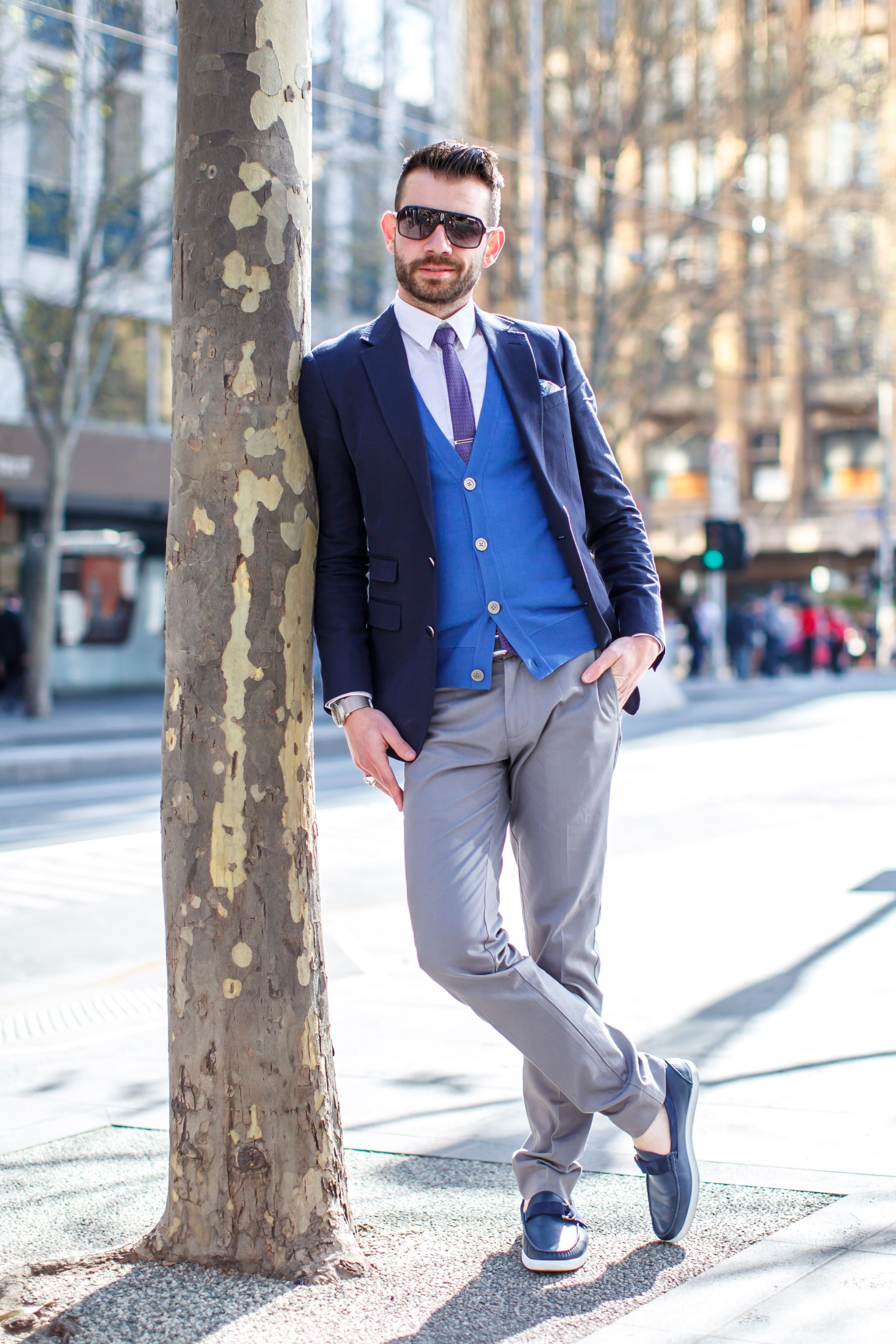 Blazer, cardigan, shirt, chinos, boat shoes, ties, pocket square, men's wear, street style, your ensemble, yourensemble, yourensemble.com