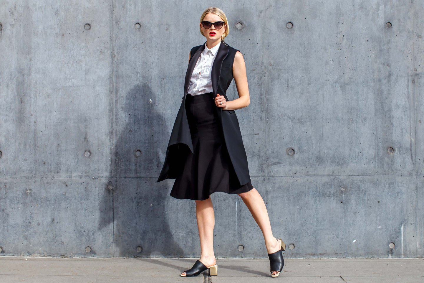 Suit, monochrome, shirt, tuxedo, jacket, waistcoat dress, skirt, mules, shoes, women's wear, street style, your ensemble, yourensemble, yourensemble.com