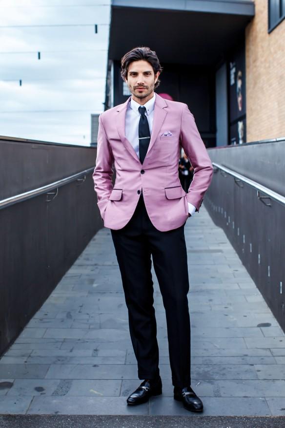 their ensemble: the pink blazer