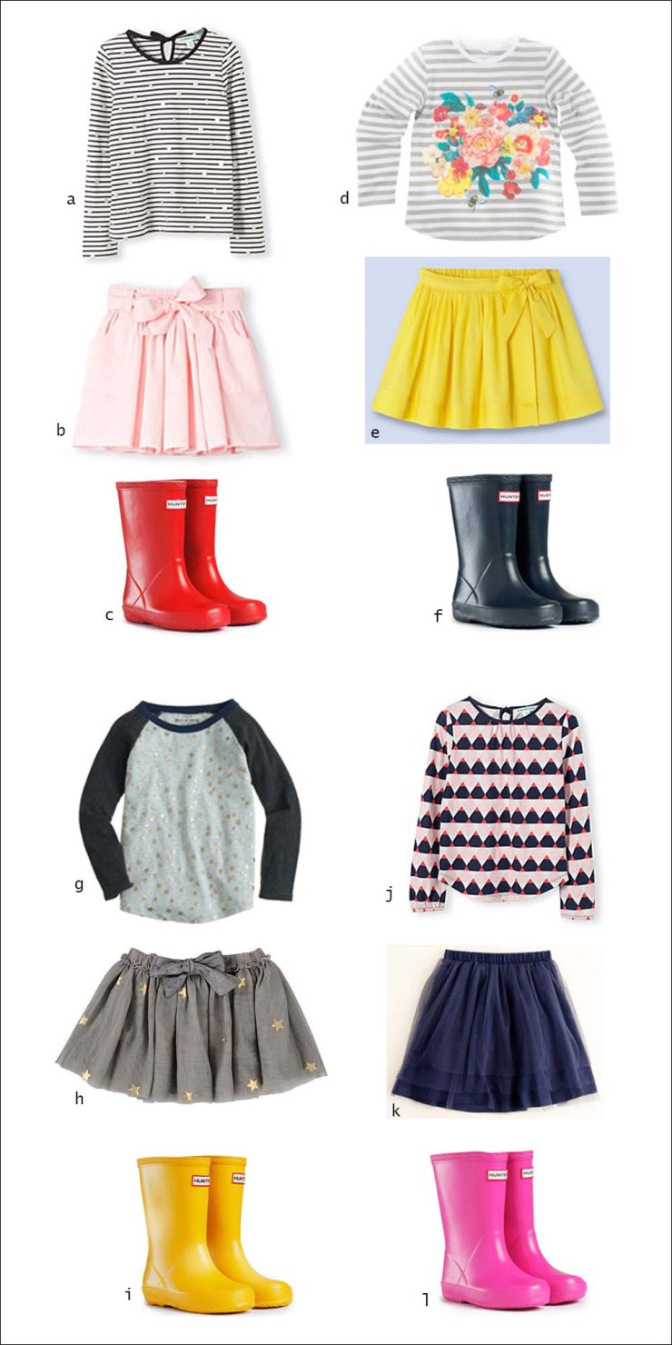 Hunter Wellies, Country Road, Girls wear, Children's wear, Skirt, Long Sleeve Top, street style, your ensemble, yourensemble, yourensemble.com
