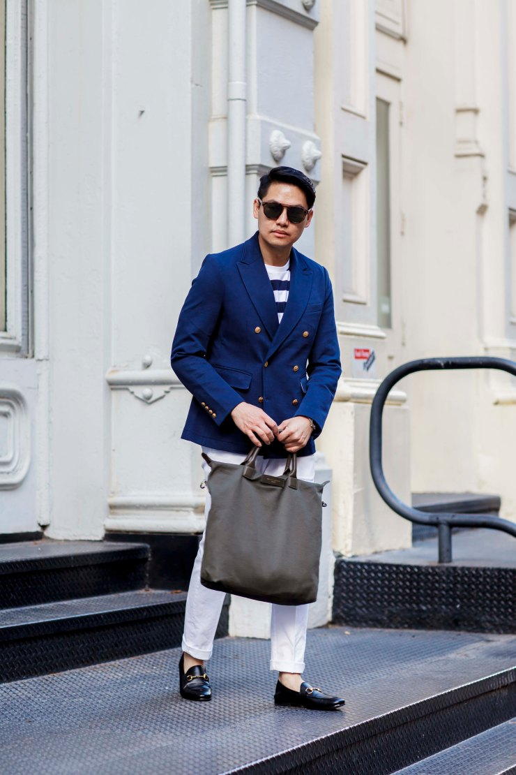 Double-breasted, blazer, chino pants, t-shirt, horsebit, loafers, gucci, leather, Melbourne, street style, your ensemble, yourensemble, yourensemble.com